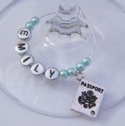 Passport Personalised Wine Glass Charm